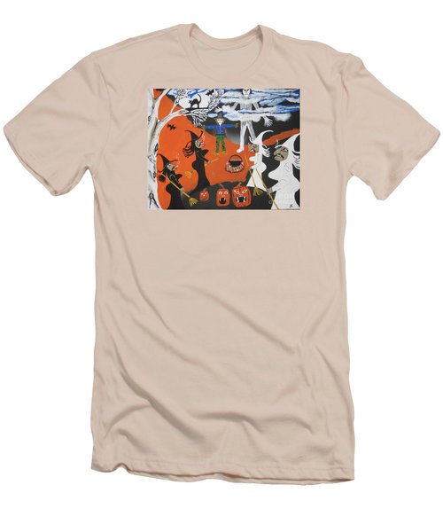 Men's T-Shirt (Slim Fit) featuring the painting Smokey Halloween by Jeffrey Koss