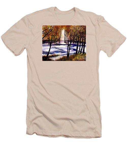 Snow On Lower Pasture Tonight Men's T-Shirt (Slim Fit) by Randy Sprout