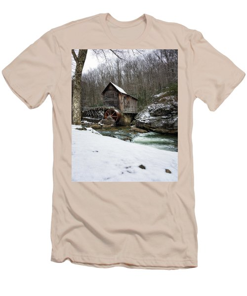 Snowing At Glade Creek Mill Men's T-Shirt (Slim Fit) by Steve Hurt