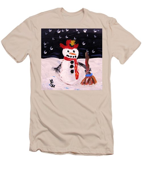 Snowman Under The Stars Men's T-Shirt (Slim Fit) by Mary Carol Williams