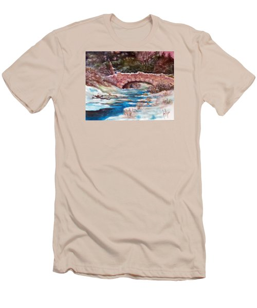 Men's T-Shirt (Slim Fit) featuring the painting Snowy Creek by Jim Phillips