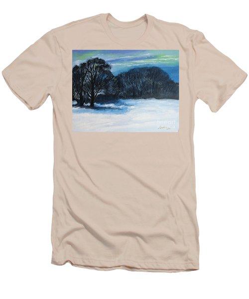 Snowy Moonlight Night Men's T-Shirt (Slim Fit)