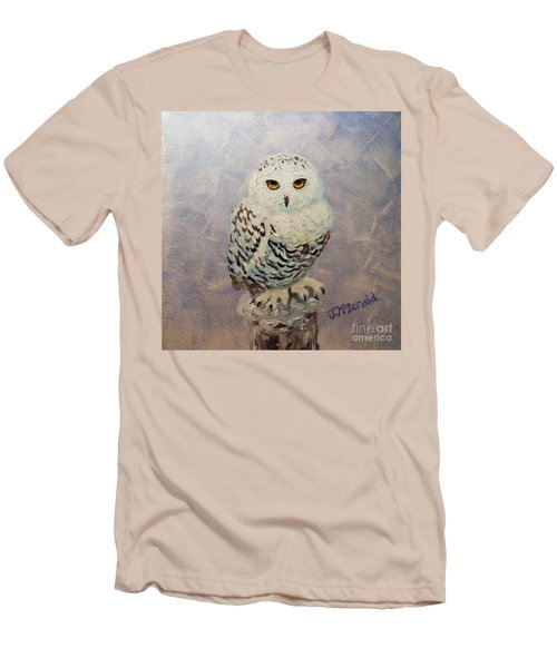 Snowy Owl Men's T-Shirt (Slim Fit) by Janet McDonald