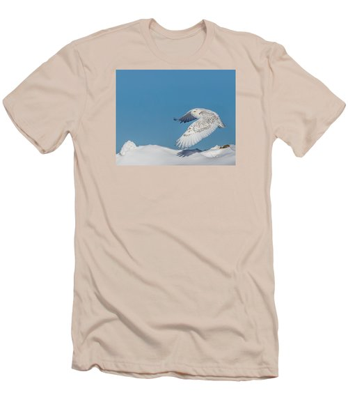 Men's T-Shirt (Slim Fit) featuring the photograph Snowy Owl - Taking Flighty by Dan Traun