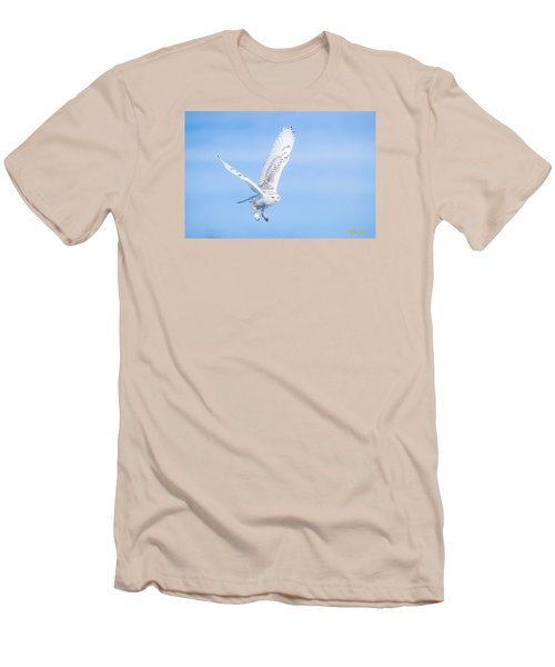 Snowy Owls Soaring Men's T-Shirt (Slim Fit) by Rikk Flohr