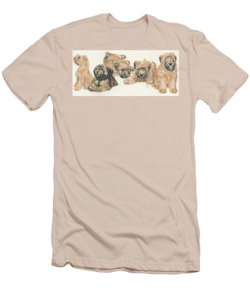 Soft-coated Wheaten Terrier Puppies Men's T-Shirt (Slim Fit) by Barbara Keith