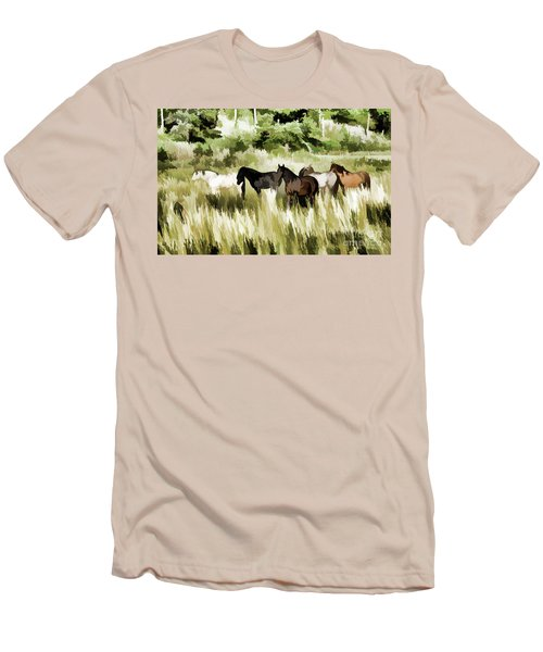 Men's T-Shirt (Slim Fit) featuring the mixed media South Dakota Herd Of Horses by Wilma Birdwell