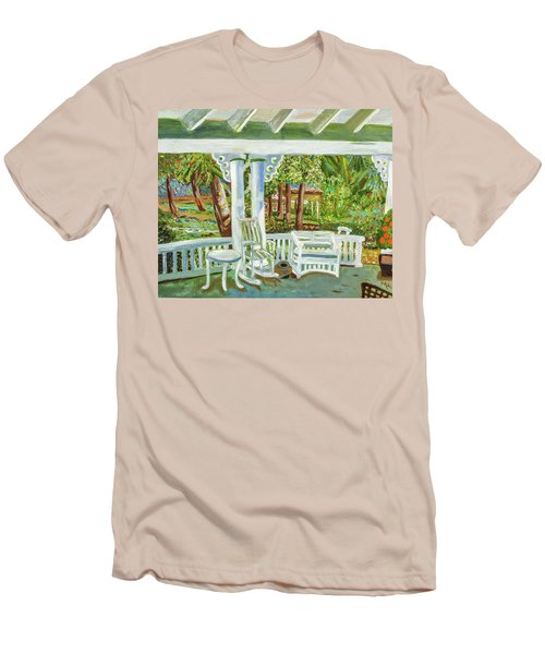 Men's T-Shirt (Slim Fit) featuring the painting Southern Porches by Margaret Harmon