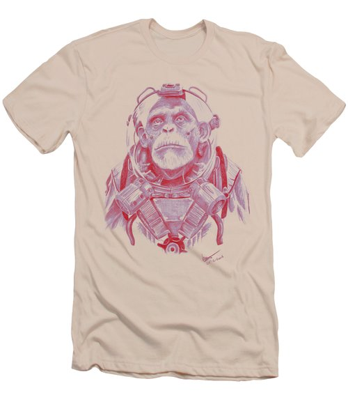 Space Chimp Men's T-Shirt (Slim Fit) by Kenny Noorlander