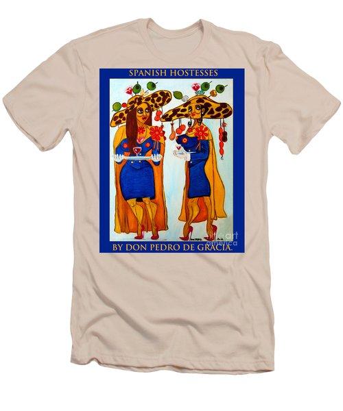 Men's T-Shirt (Slim Fit) featuring the painting Spanish Hostesses. by Don Pedro De Gracia