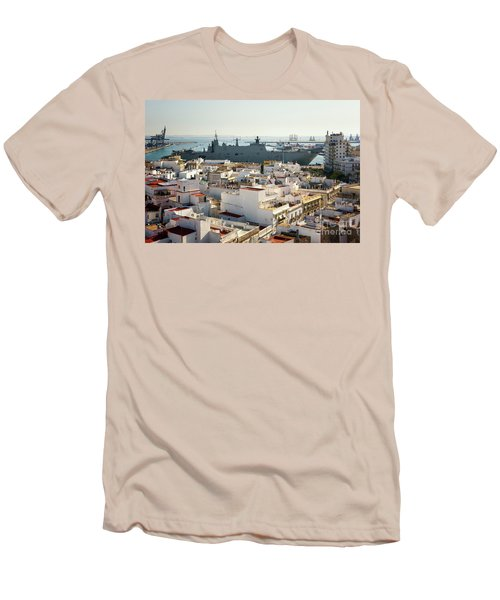 Men's T-Shirt (Athletic Fit) featuring the photograph Spanish Navy Ship Juan Carlos I Cadiz Spain by Pablo Avanzini