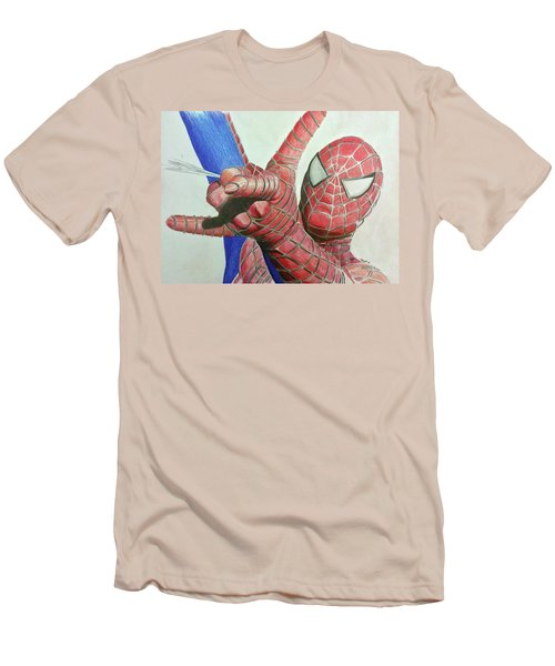 Men's T-Shirt (Slim Fit) featuring the drawing Spiderman by Michael McKenzie