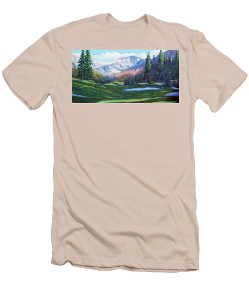 Men's T-Shirt (Slim Fit) featuring the painting Spring Colors In The Rockies by Billie Colson