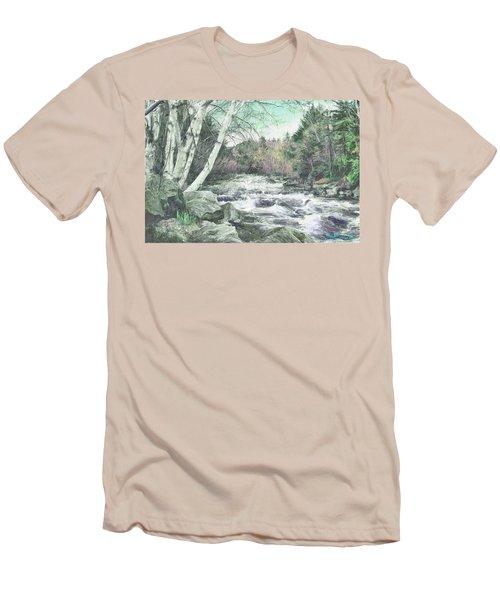 Men's T-Shirt (Slim Fit) featuring the digital art Spring Runoff by John Selmer Sr