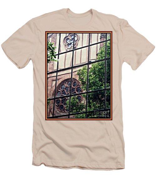 St Boniface Church In Reflection  Men's T-Shirt (Slim Fit) by Sarah Loft