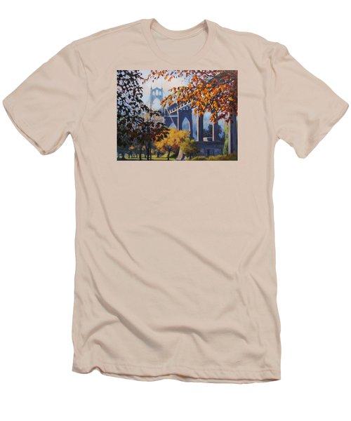 Men's T-Shirt (Slim Fit) featuring the painting St Johns Autumn by Karen Ilari