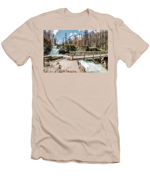 St. Mary Falls With Bridge Men's T-Shirt (Slim Fit)