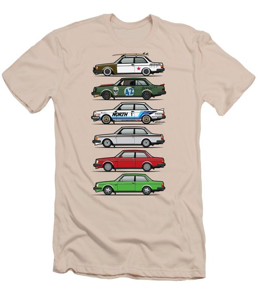Stack Of Volvo 242 240 Series Brick Coupes Men's T-Shirt (Slim Fit) by Monkey Crisis On Mars