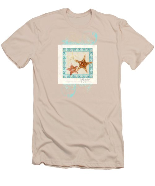Starfish Greek Key Pattern W Swirls Men's T-Shirt (Slim Fit) by Audrey Jeanne Roberts