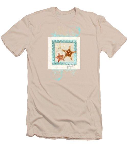 Starfish Greek Key Pattern W Swirls Men's T-Shirt (Athletic Fit)