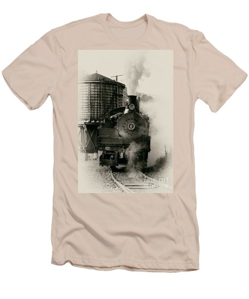 Men's T-Shirt (Slim Fit) featuring the photograph Steam Train by Jerry Fornarotto