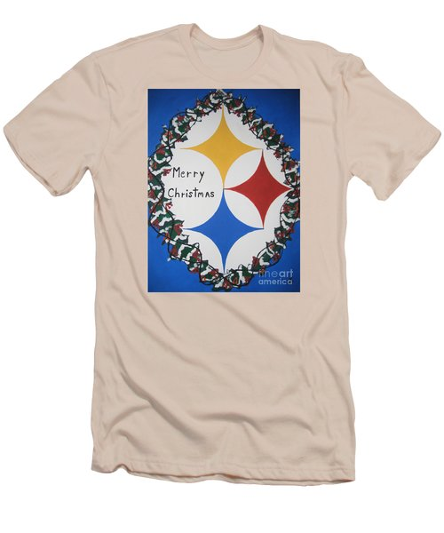 Steelers Christmas Card Men's T-Shirt (Slim Fit) by Jeffrey Koss