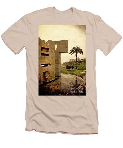 Men's T-Shirt (Slim Fit) featuring the photograph Stelae In The Park - Miraflores Peru by Mary Machare