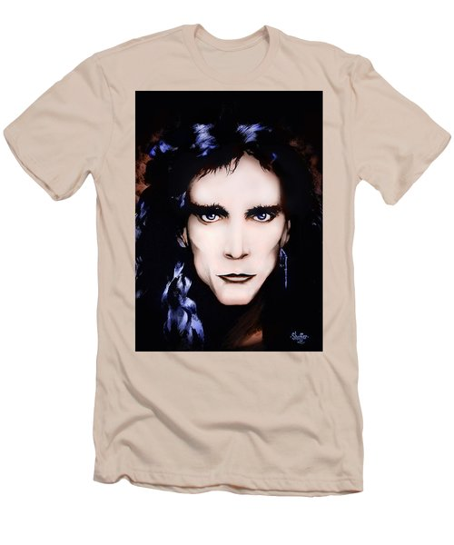 Men's T-Shirt (Slim Fit) featuring the painting Steve Vai by Curtiss Shaffer