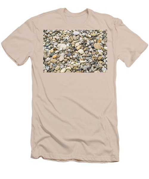 Men's T-Shirt (Slim Fit) featuring the photograph Stone Pebbles Patterns by John Williams