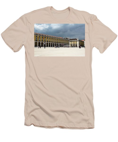 Men's T-Shirt (Slim Fit) featuring the photograph Storm Brews Over Commerce Square by Lorraine Devon Wilke