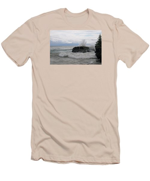 Men's T-Shirt (Slim Fit) featuring the photograph Stormy Morning On Superior by Sandra Updyke