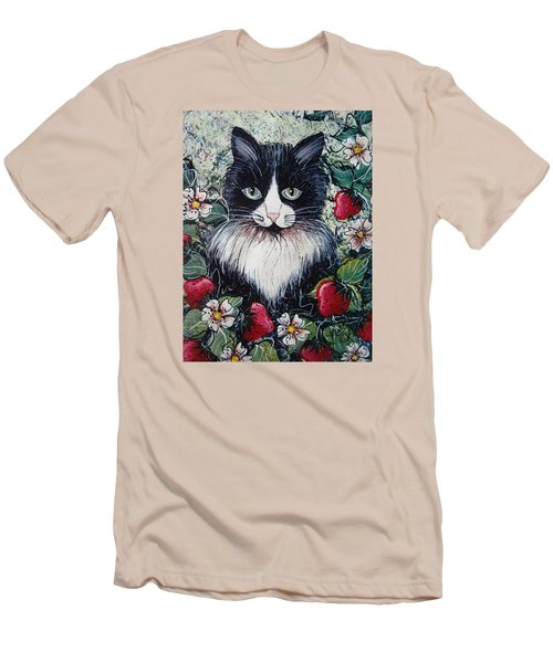 Strawberry Lover Cat Men's T-Shirt (Slim Fit) by Natalie Holland