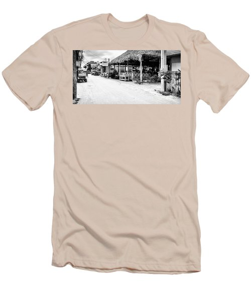 Men's T-Shirt (Slim Fit) featuring the photograph Street Scene On Caye Caulker by Lawrence Burry