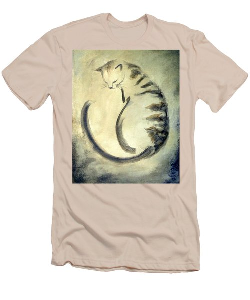Stripey Cat 1  Men's T-Shirt (Slim Fit) by Dina Dargo