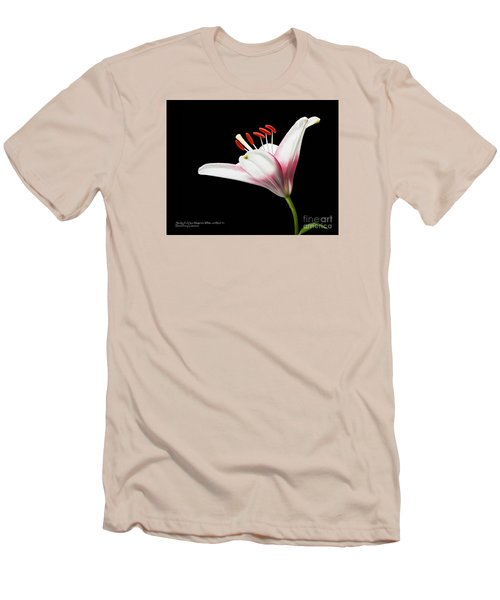Men's T-Shirt (Athletic Fit) featuring the photograph Study Of A Lily In Magenta, White, And Red #2 By Flower Photographer David Perry Lawrence And Red #1 by David Perry Lawrence