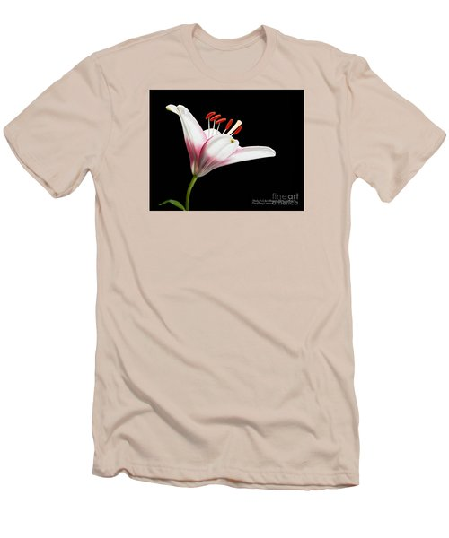 Men's T-Shirt (Athletic Fit) featuring the photograph Study Of A Lily In Magenta, White, And Red #2 By Flower Photographer David Perry Lawrence by David Perry Lawrence