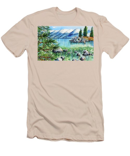 Men's T-Shirt (Slim Fit) featuring the painting Summer At Lake Tahoe by Terry Banderas