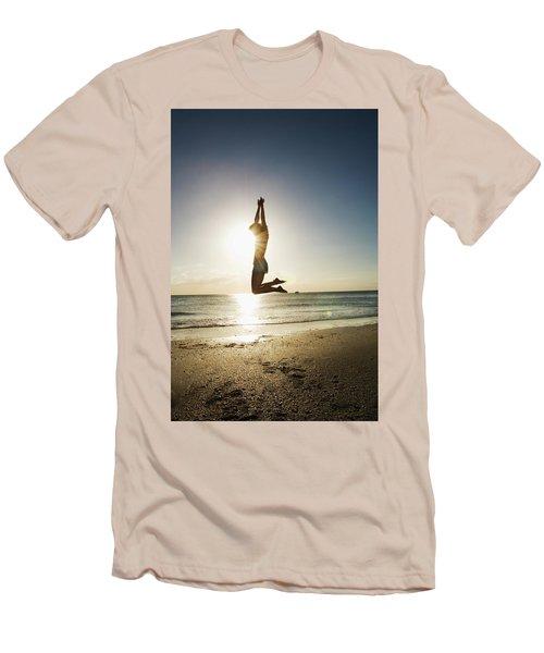 Summer Girl Summer Jump  Men's T-Shirt (Slim Fit) by Amyn Nasser