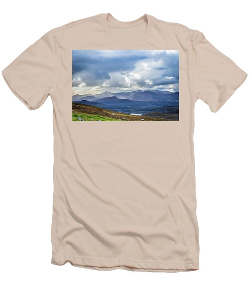 Men's T-Shirt (Slim Fit) featuring the photograph Sun Rays Piercing Through The Clouds Touching The Irish Landscap by Semmick Photo
