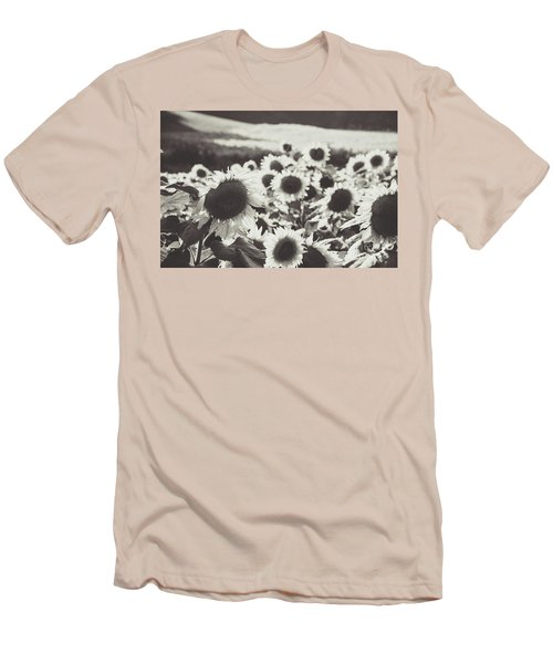 Men's T-Shirt (Athletic Fit) featuring the photograph Sunflower Black And White 1 by Andrea Anderegg