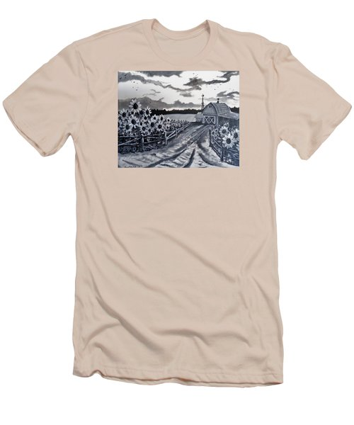Men's T-Shirt (Slim Fit) featuring the painting Sunflower Farm by Kevin F Heuman