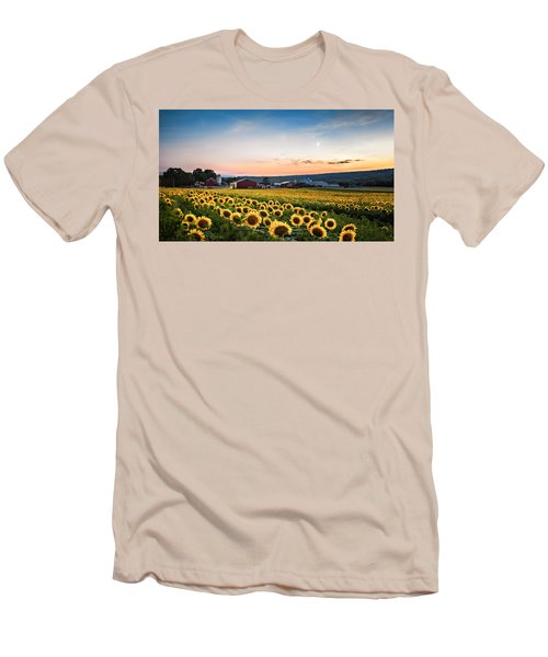 Men's T-Shirt (Slim Fit) featuring the photograph Sunflowers, Moon And Stars by Eduard Moldoveanu