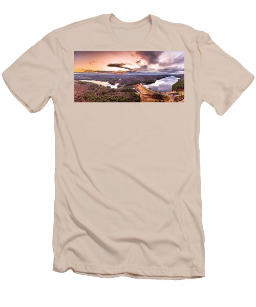 Men's T-Shirt (Slim Fit) featuring the photograph Sunset At Saville Dam - Barkhamsted Reservoir Connecticut by Petr Hejl