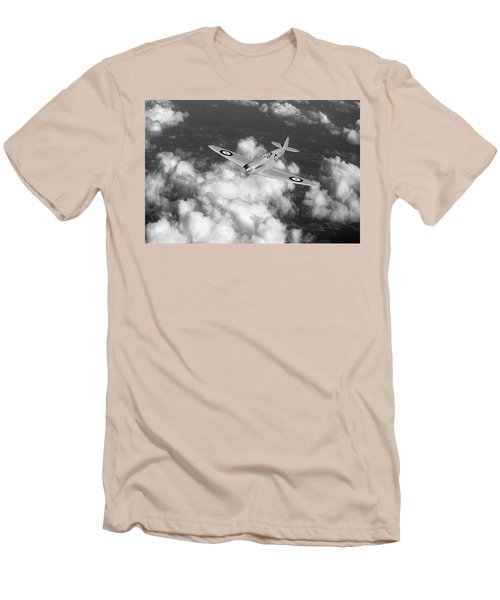 Men's T-Shirt (Slim Fit) featuring the photograph Supermarine Spitfire Prototype K5054 Black And White Version by Gary Eason