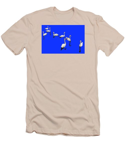 Swan Family On Blue Men's T-Shirt (Athletic Fit)