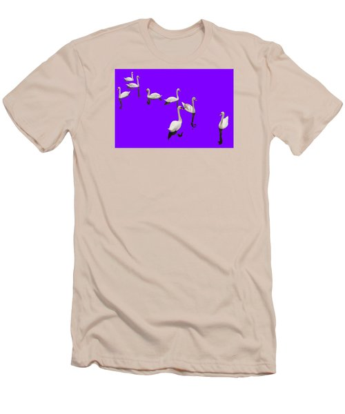 Swan Family On Purple Men's T-Shirt (Slim Fit) by Constantine Gregory