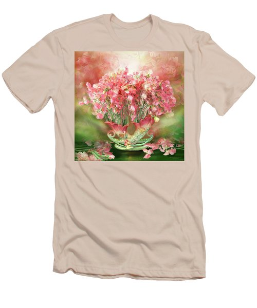 Men's T-Shirt (Athletic Fit) featuring the mixed media Sweet Peas In Sweet Pea Vase 2 by Carol Cavalaris