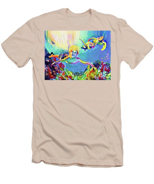 Swimming With Turtles Men's T-Shirt (Slim Fit) by Jann Paxton