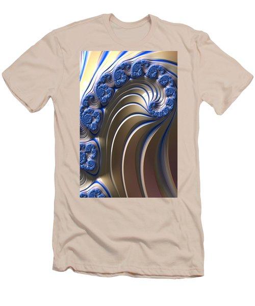 Swirly Blue Fractal Art Men's T-Shirt (Slim Fit) by Bonnie Bruno