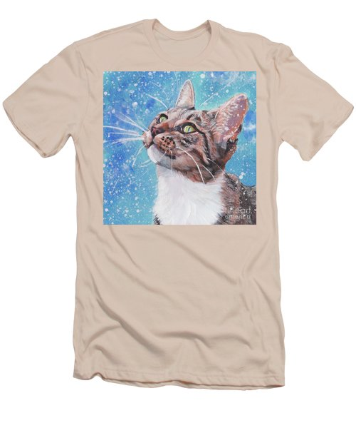 Men's T-Shirt (Slim Fit) featuring the painting Tabby Cat In The Winter by Lee Ann Shepard